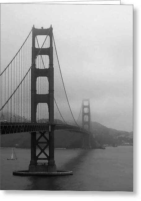 Sausalito Greeting Cards - Sailing Under the Golden Gate Bridge BW Greeting Card by Connie Fox