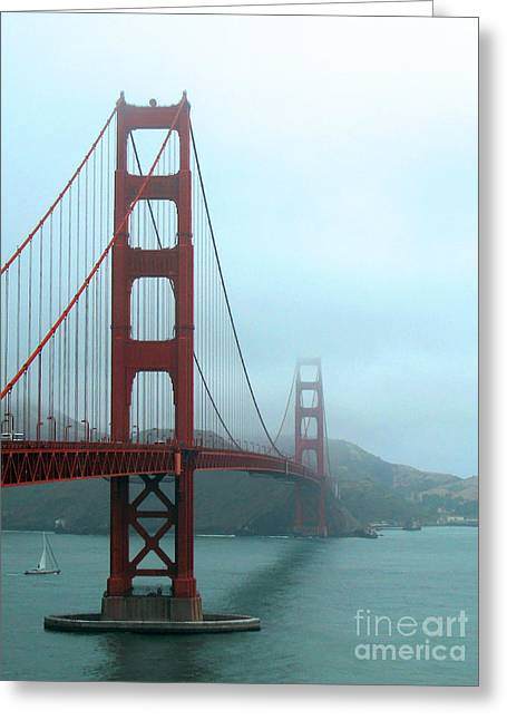 Sausalito Greeting Cards - Sailing Under the Golden Gate Bridge Greeting Card by Connie Fox