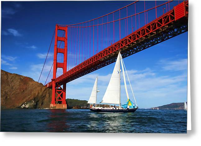 Blue Sailboats Greeting Cards - Sailing Under The Icon Greeting Card by Hugh Stickney