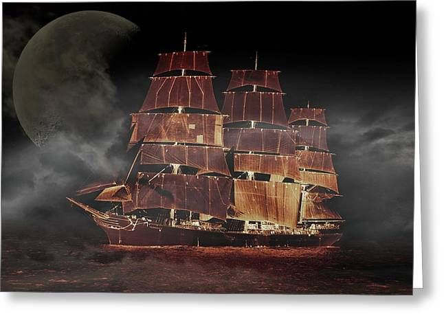 Eery Greeting Cards - Sailing under the Moon Greeting Card by Mountain Dreams