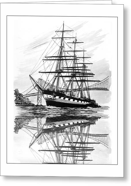 Pen And Ink Framed Prints Greeting Cards - Balclutha returns to San Francisco Greeting Card by Jack Pumphrey