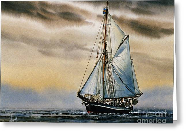 Sailing Ship Framed Prints Greeting Cards - Sailing Vessel SEUTE DEERN Greeting Card by James Williamson