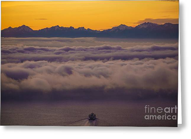 Olympic Mountains Greeting Cards - Sailing Westward Under the Fog Greeting Card by Mike Reid