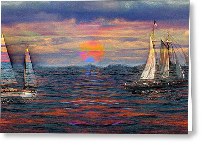 Sailboat Ocean Greeting Cards - Sailing While Dreaming Greeting Card by Jeff Breiman