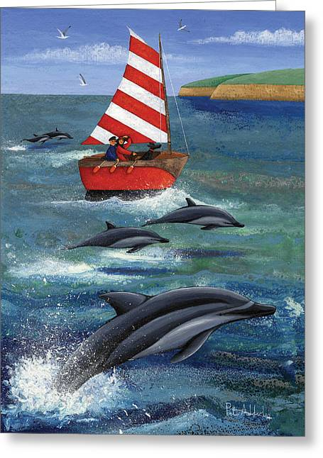 Sailing With Dolphins Greeting Card by Peter Adderley