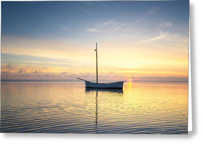 Reflection In Water Greeting Cards - Sailing Yacht in the sea at sunset Greeting Card by Jan Sieminski