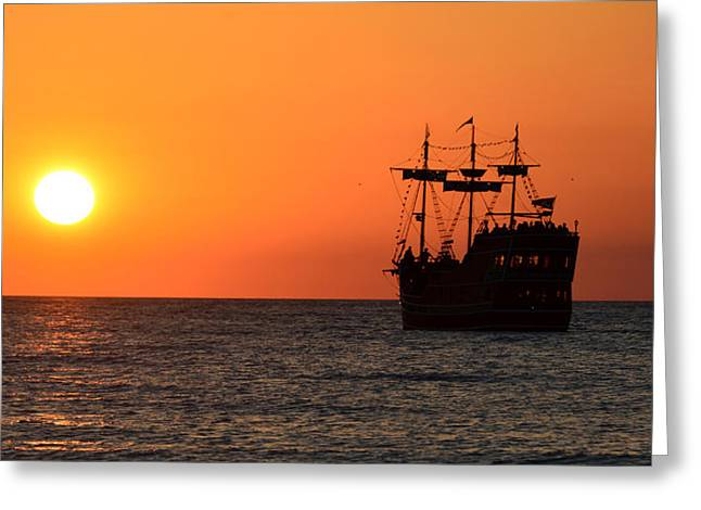 Pirate Ship Greeting Cards - Sailing West Greeting Card by David Lee Thompson