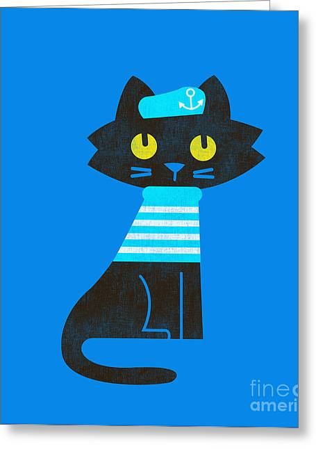 Cute Cat Greeting Cards - Sailor Cat Greeting Card by Budi Kwan