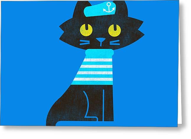sailor cat Greeting Card by Budi Kwan