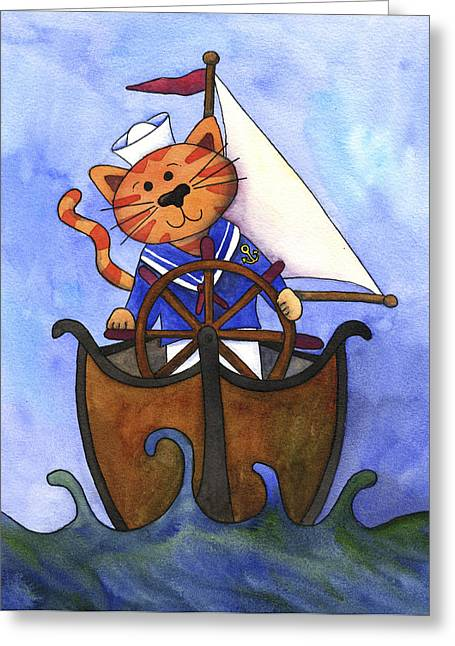 Sailboat Images Paintings Greeting Cards - Sailor Cat Greeting Card by Kerrie  Hubbard