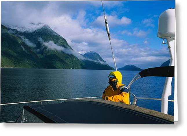 Weekend Photographs Greeting Cards - Sailor On A Yacht, New Zealand Greeting Card by Panoramic Images