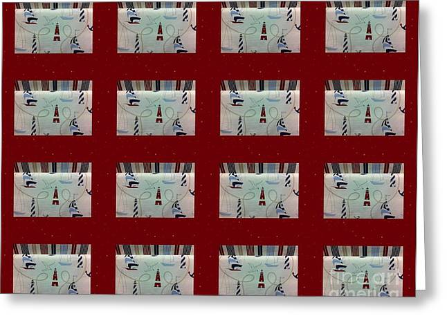 Red And White Quilt Greeting Cards - Nautical Quilt with Red Sashing Greeting Card by Barbara Griffin
