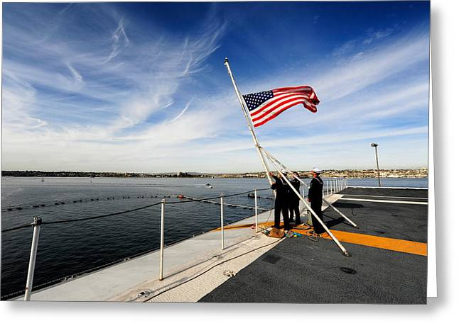 Carrier Greeting Cards - Sailors and the Colors Greeting Card by Mountain Dreams