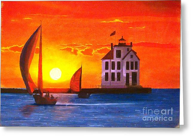 Ocean Sailing Pastels Greeting Cards - Sailors Delight Greeting Card by Jackie Massman