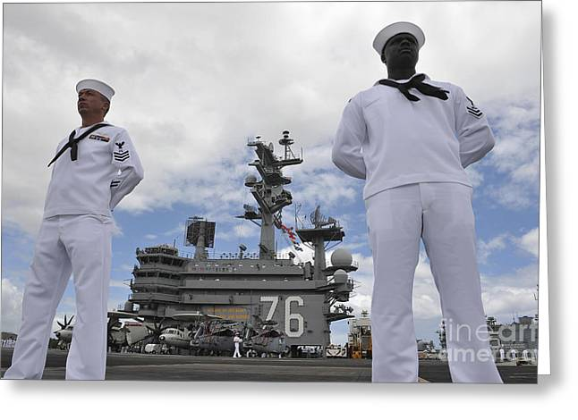 Hickam Greeting Cards - Sailors Man The Rails Aboard Uss Ronald Greeting Card by Stocktrek Images