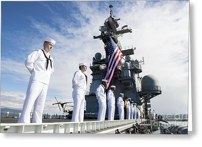 Hickam Greeting Cards - Sailors Man The Rails As Aboard Uss Greeting Card by Stocktrek Images