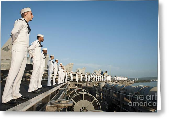 Arms Behind Back Greeting Cards - Sailors Man The Rails Of Uss Nimitz Greeting Card by Stocktrek Images