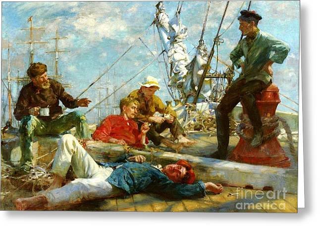 Midday Paintings Greeting Cards - Sailors midday rest - yarning Greeting Card by Pg Reproductions