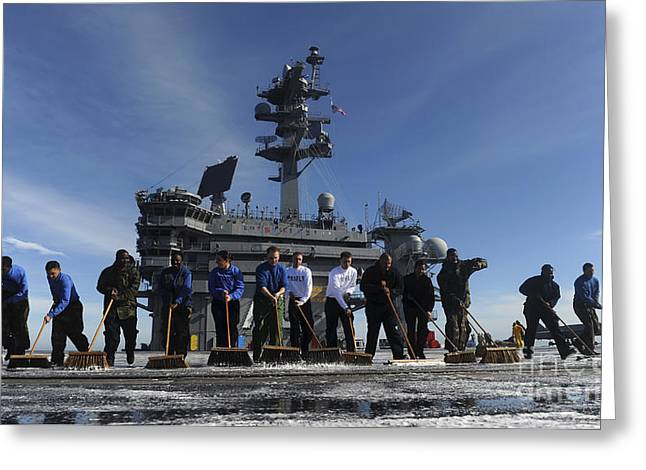 Scrubbing Greeting Cards - Sailors Participate In A Fight Deck Greeting Card by Stocktrek Images