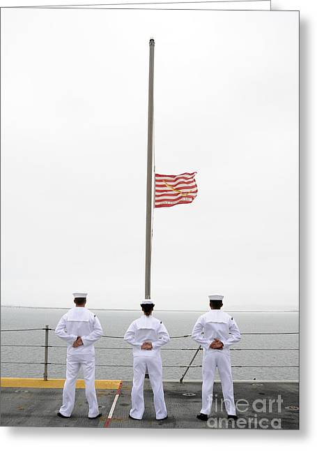 Uss Essex Greeting Cards - Sailors Pay Tribute Aboard Uss Essex Greeting Card by Stocktrek Images