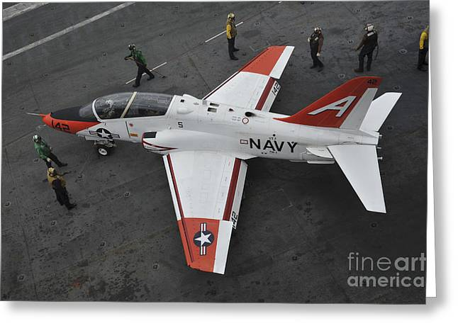 Trainer Aircraft Greeting Cards - Sailors Perform Pre-flight Checks Greeting Card by Stocktrek Images