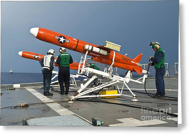 Carat Photographs Greeting Cards - Sailors Perform Pre-launch Checks Greeting Card by Stocktrek Images
