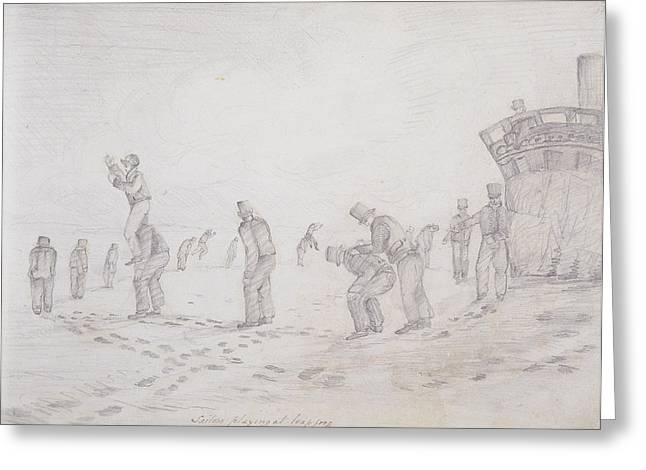 Jumping Greeting Cards - Sailors Playing At Leap Frog, From Sketches Of The Second Parry Arctic Expedition, 1821-2 Graphite Greeting Card by Captain George Francis Lyon