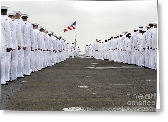 Woman In A Dress Photographs Greeting Cards - Sailors Prepare To Man The Rails Greeting Card by Stocktrek Images
