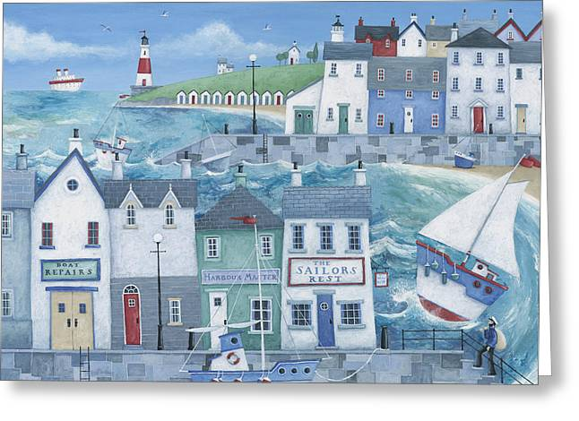 Coloured Greeting Cards - Sailors Rest Greeting Card by Peter Adderley