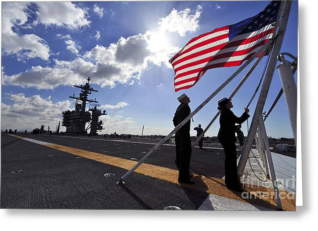 Nimitz-class Greeting Cards - Sailors Shift The Colors Aboard Greeting Card by Stocktrek Images