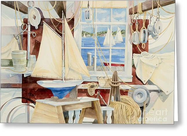 Blue Sailboat Greeting Cards - Sailors Shop Greeting Card by Paul Brent