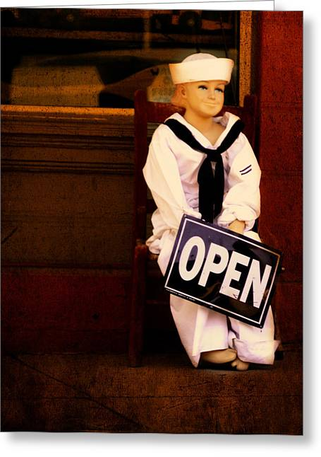 Toy Boat Greeting Cards - Sailors Welcome Cropped Greeting Card by Lesa Fine