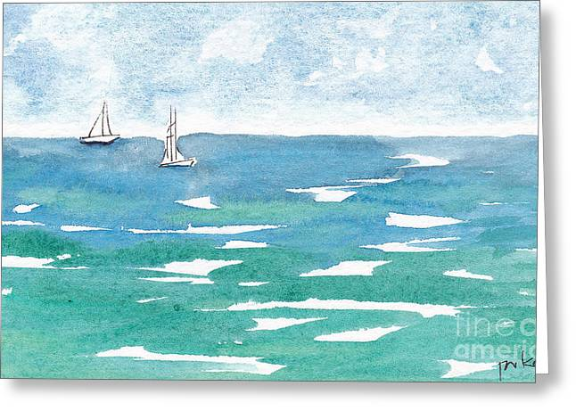 Viridian Greeting Cards - Sails At Sea Greeting Card by Pat Katz
