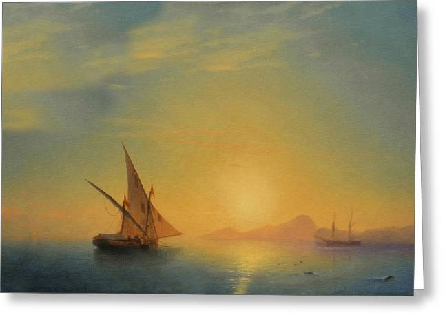 Fine Mixed Media Greeting Cards - Sails In The Sunset Greeting Card by Georgiana Romanovna