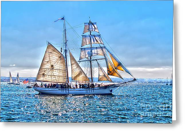 Sailboat Images Greeting Cards - Sails Greeting Card by Baywest Imaging