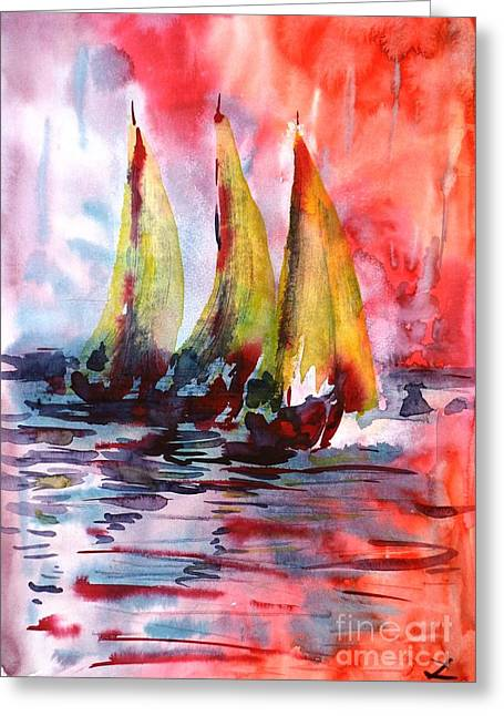 Sailboat Images Paintings Greeting Cards - Sails Greeting Card by Zaira Dzhaubaeva