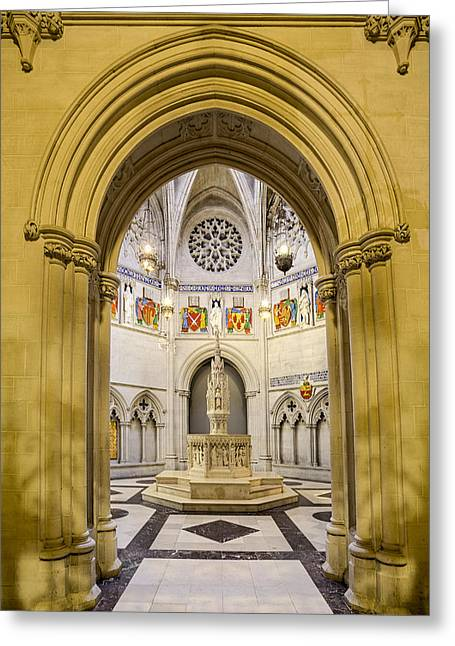 Architectural Detail Greeting Cards - Sain John The Divine Baptistry Greeting Card by Susan Candelario