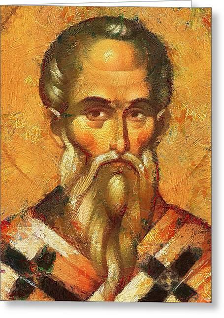 Jesus Christ Icon Digital Greeting Cards - Saint Alexander of Konstantinopol Icon Greeting Card by Yury Malkov