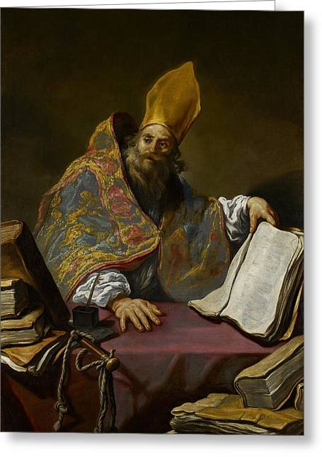 Saint Ambrose Greeting Card by Claude Vignon