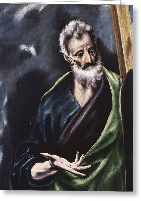 Popular Beliefs Greeting Cards - Saint Andrew Greeting Card by El Greco