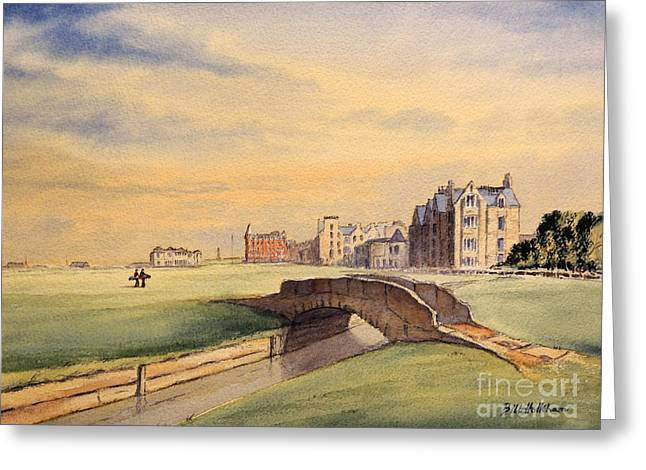 Watercolour Paintings Greeting Cards - Saint Andrews Golf Course Scotland - 18th Hole Greeting Card by Bill Holkham