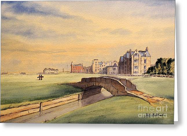 Sports Artist Greeting Cards - Saint Andrews Golf Course Scotland - 18th Hole Greeting Card by Bill Holkham