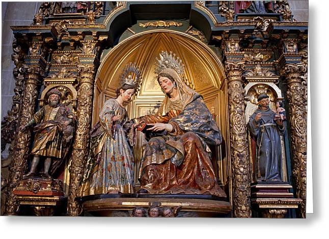 Biblical Scene Greeting Cards - Saint Anne and Virgin Mary Sculptures in Seville Cathedral Greeting Card by Artur Bogacki