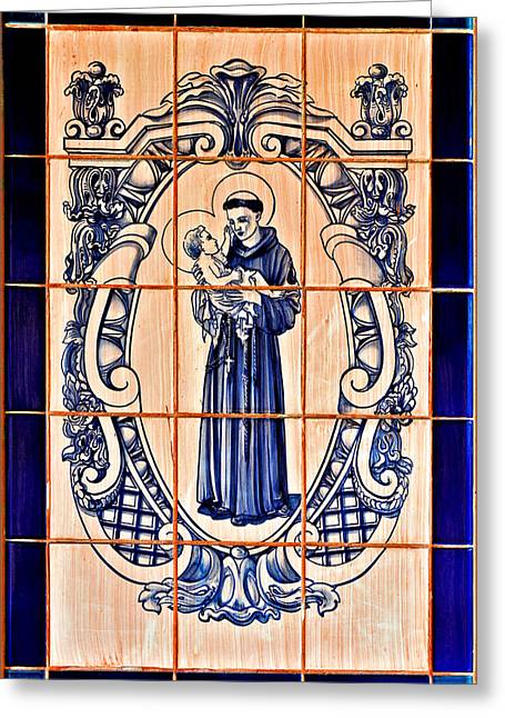 Ceramic Greeting Cards - Saint Anthony of Padua Greeting Card by Christine Till