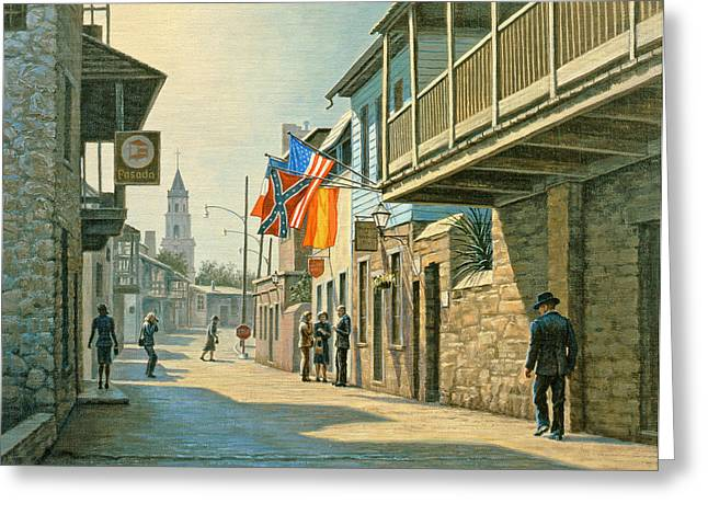 Florida Landscape Greeting Cards - Saint Augustine Street   Greeting Card by Paul Krapf