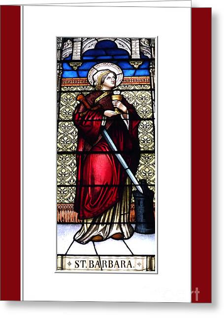 Saint Barbara Greeting Cards - Saint Barbara Stained Glass Window Greeting Card by Rose Santuci-Sofranko