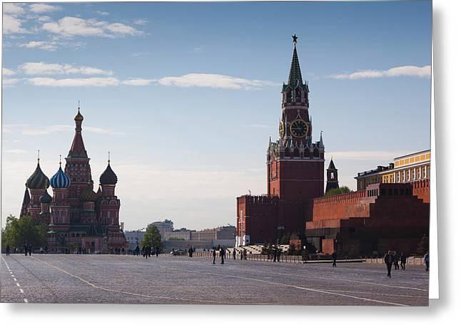 St Basils Greeting Cards - Saint Basils Cathedral And Kremlin Greeting Card by Panoramic Images
