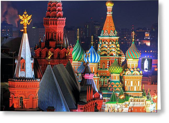 Saint Basils Cathedral On Red Square In Moscow Greeting Card by Lars Ruecker