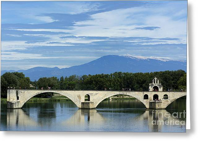 South Of France Photographs Greeting Cards - Saint Benezet bridge over the river Rhone. View on Mont Ventoux. Avignon. France Greeting Card by Bernard Jaubert