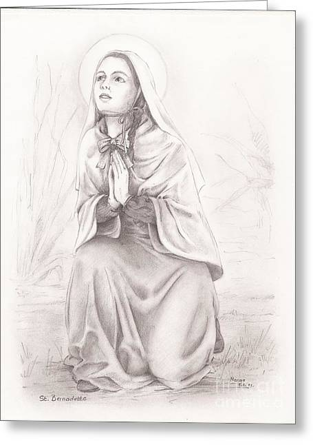 Rosary Drawings Greeting Cards - Saint Bernadette of Lourdes Greeting Card by Manon  Massari